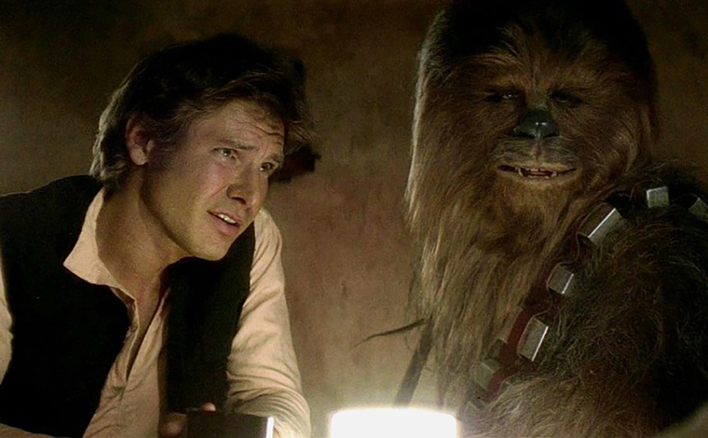 Chewie and Han Solo talking