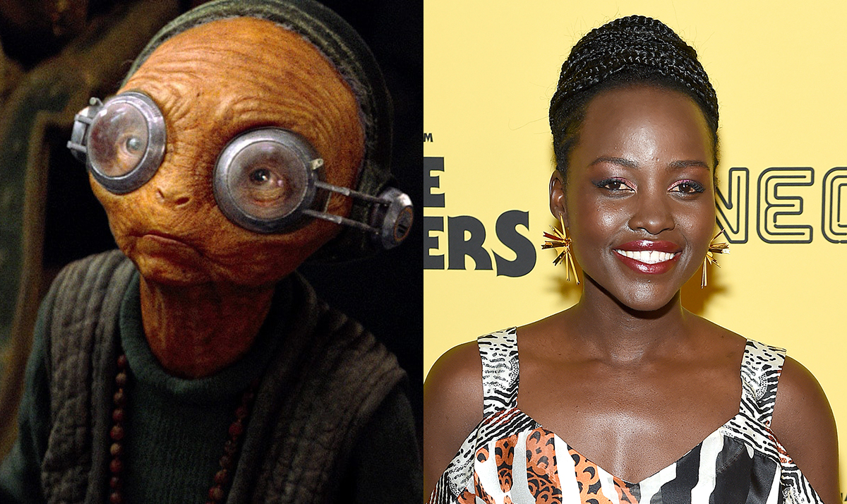 Actress Lupita Nyong'o on the right with her Star Wars CGI character, Maz, on the left.
