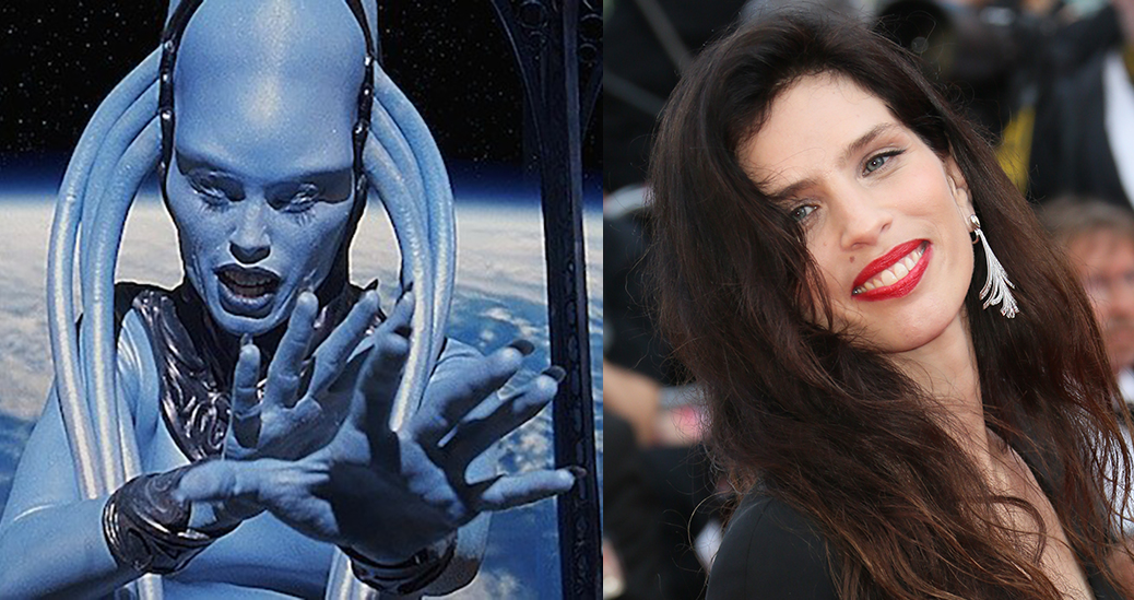 Blue alien next to the actress who portrayed her, Maiwenn L Besco.