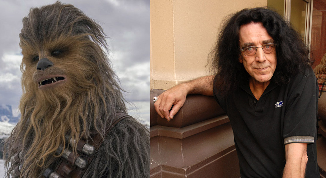 Actor Peter Mayhew on the right and his Star Wars character Chewie on the left.
