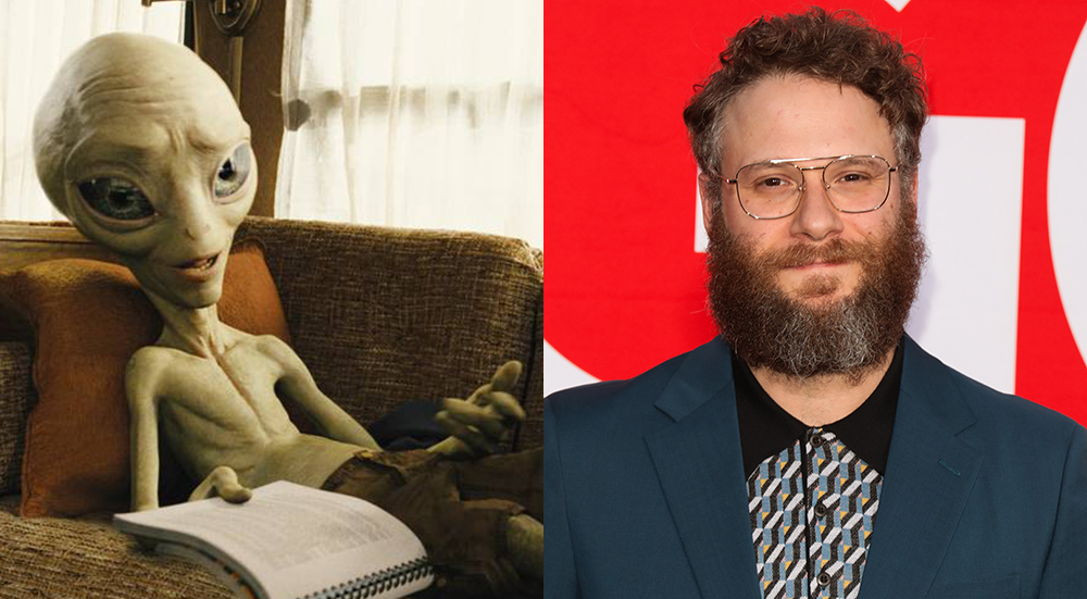 Actor and producer Seth Rogen on the right and his alien character Paul on the left.