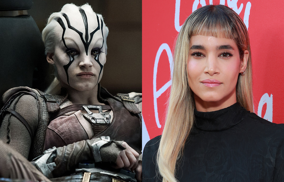 Sofia Boutella on the left with her Star Trek role, Jaylah, on the right