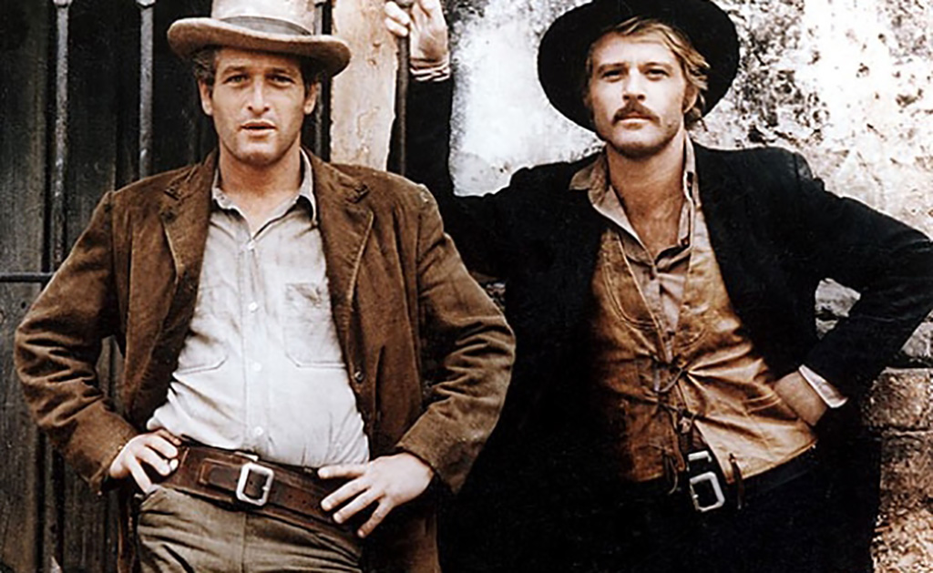 Paul Newman and Robert Redford posing as their characters
