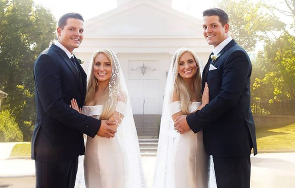 Couples in front of church