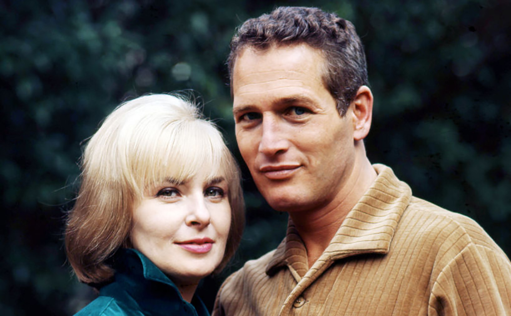 Paul Newman with his wife in color photo