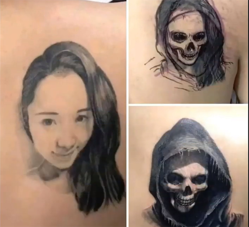A tattoo of a woman is altered to look like a skull in a hood.