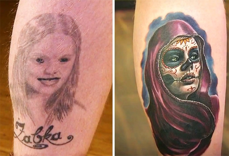 A pourly done tattoo of a girl is covered with a beautiful image of a woman in Day of the Dead face paint.