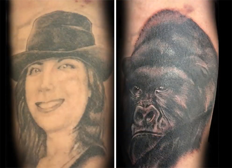 A tattoo of a woman's face is made into a tattoo of a gorilla's face.