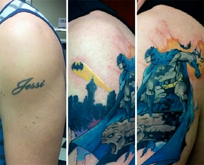 The name Jessi is covered with a large image of Batman riding a monster into town.
