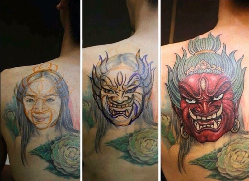 A tattoo of a young girl transforms into one of an evil woman.