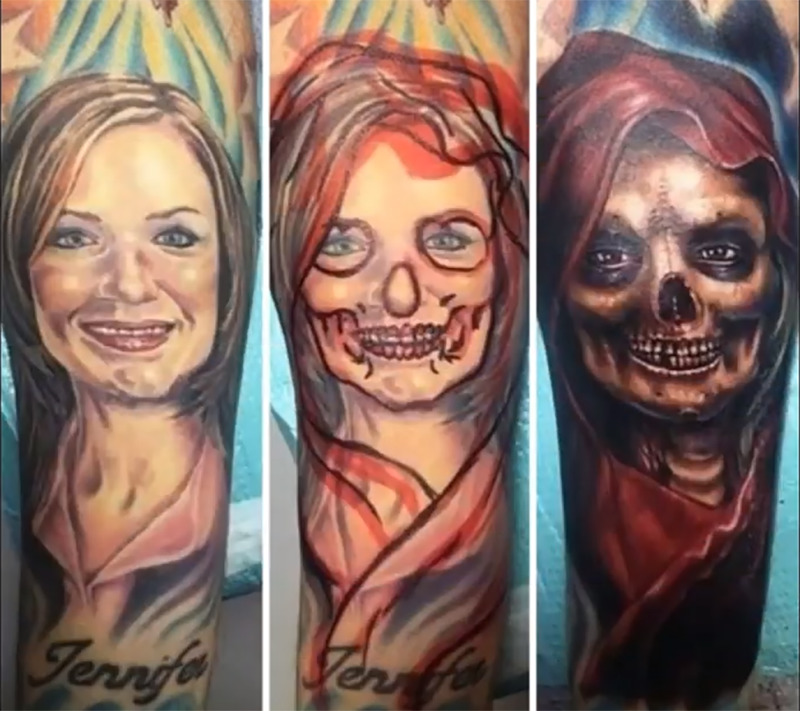 A colored tattoo of a woman was changed to a dead woman.