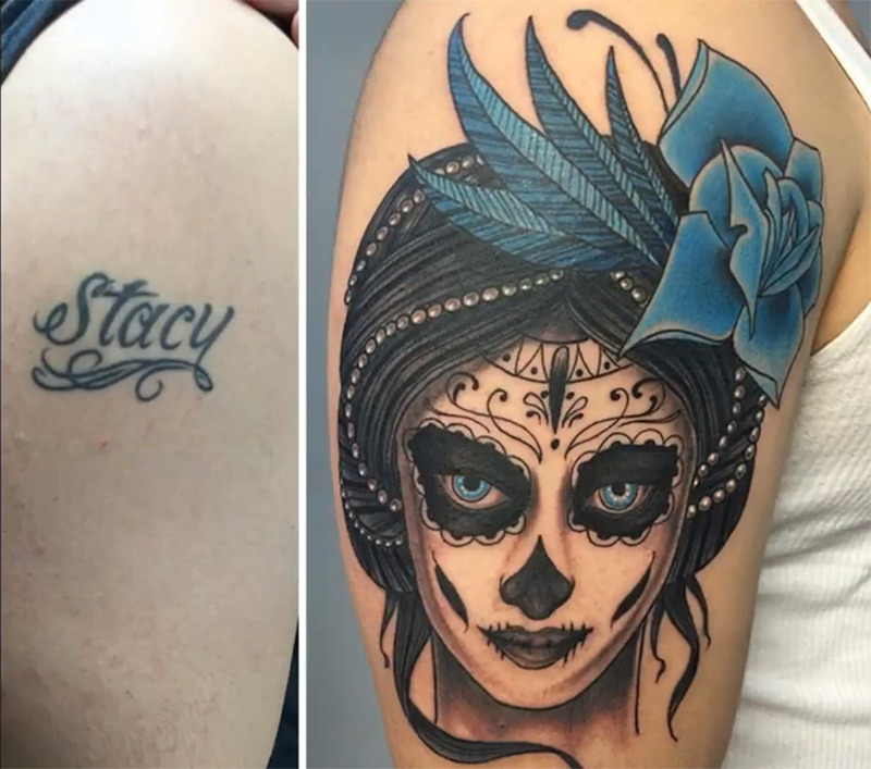 The name Stacy is covered up by a woman's painted face.