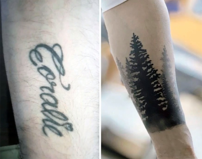 The name Coralie is covered by a tattoo of forest trees.