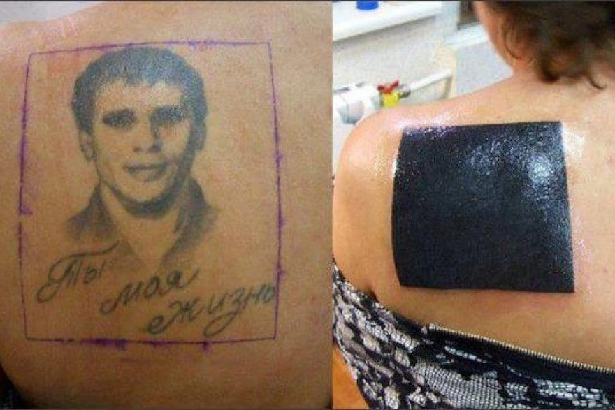 A woman covered her tattoo of her ex with a big, black box.