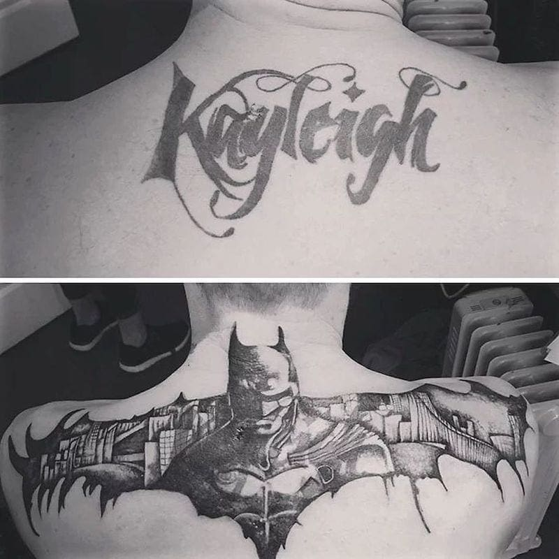 The name Kayleigh is covered up with a tattoo of flying Batman.