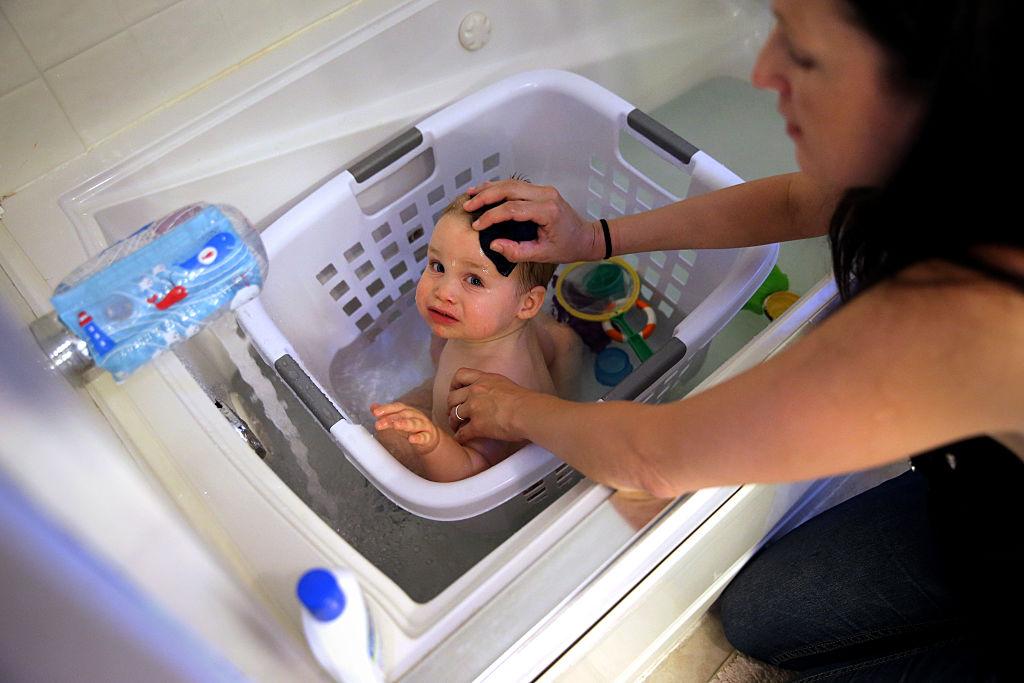 washing a baby