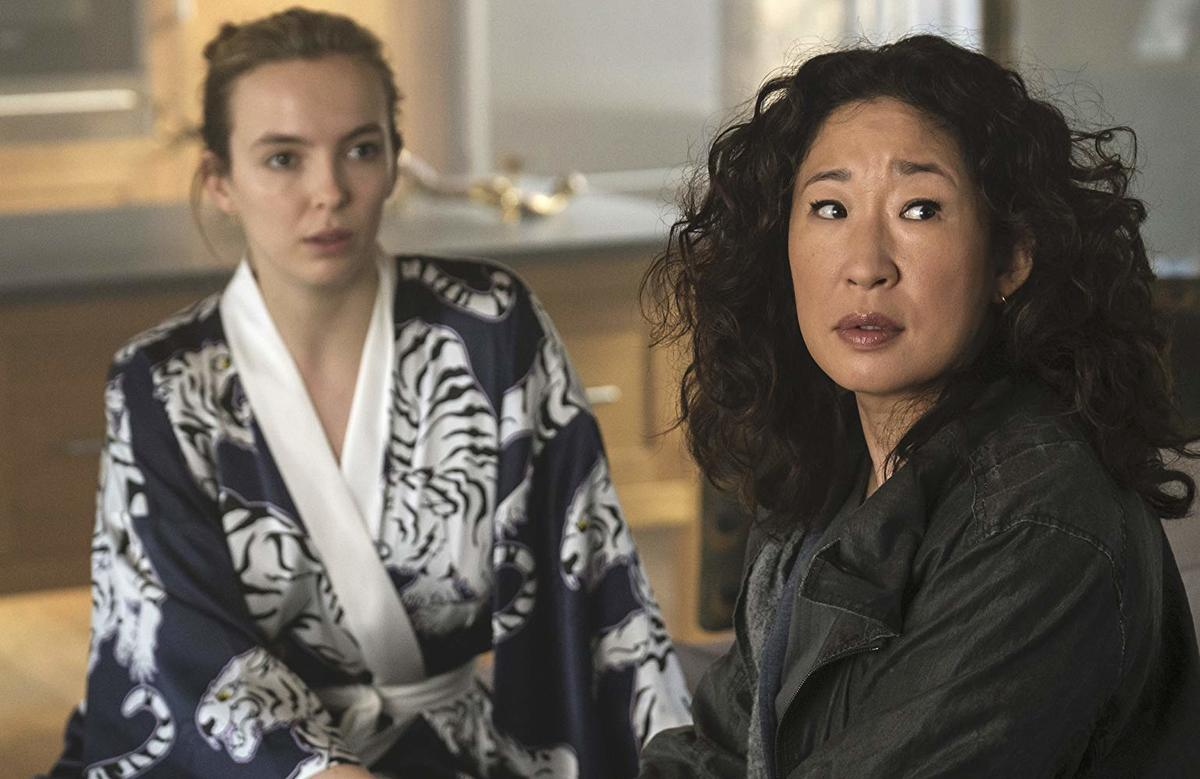 Sandra Oh and Jodie Comer looking to the side in killing eve