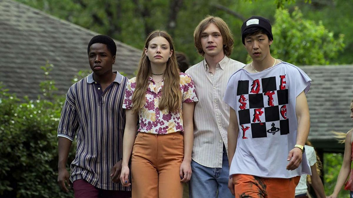 Charlie Plummer, Denny Love, Jay Lee, and Kristine Froseth posing for a photo in looking for alaska