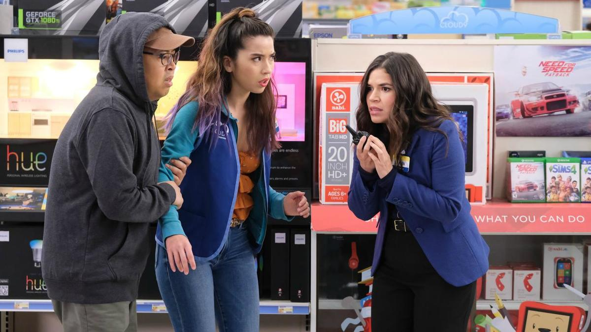 America Ferrera, Nichole Bloom, and Nico Santos in a scene for superstore