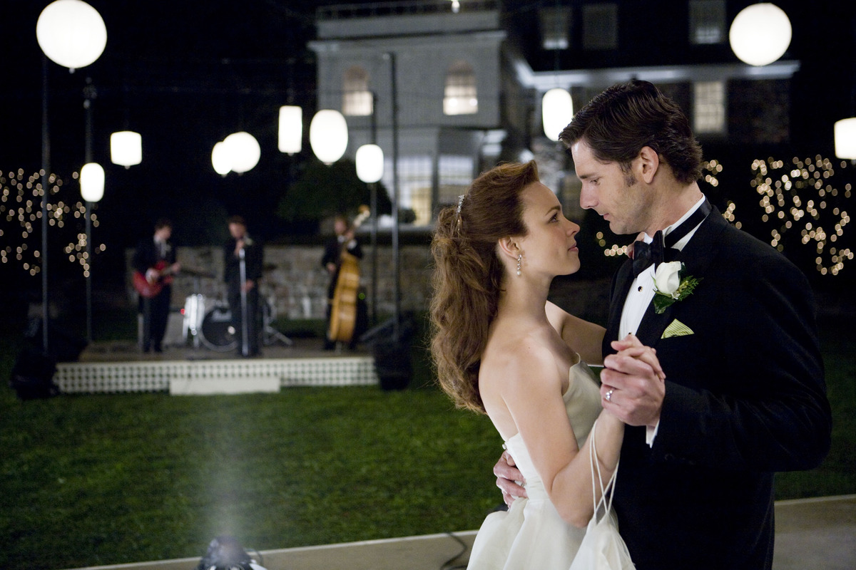 A couple dances at their wedding.