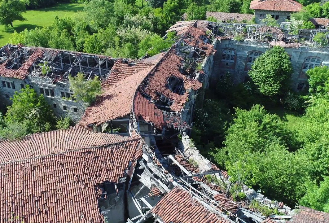 The roofs of Doftana Penitentiary are seen through a drone.