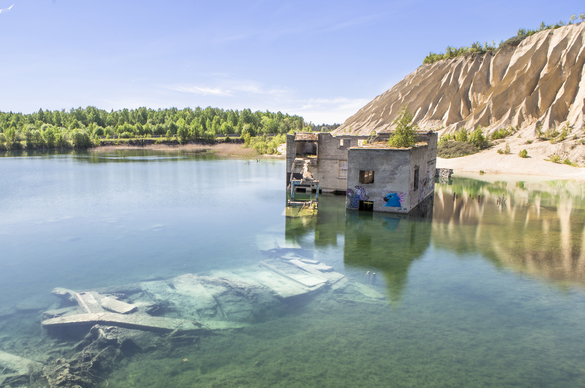 Rummu Prison is seen submerged in a lake in Estonia.
