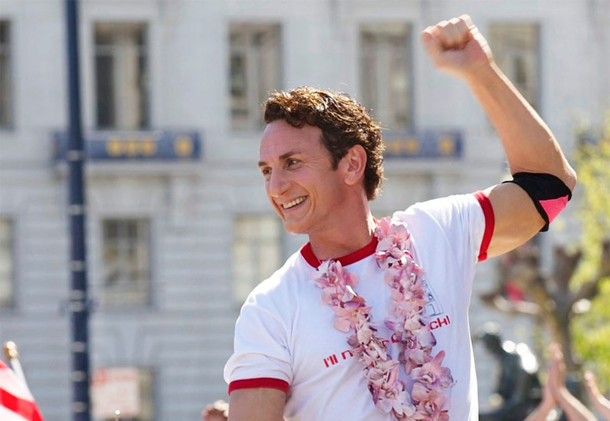 In the movie Milk, Harvey Milk (played by Sean Penn) raises his fist in the air.