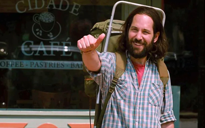 Paul Rudd hitch hikes in the movie Our Idiot Brother.