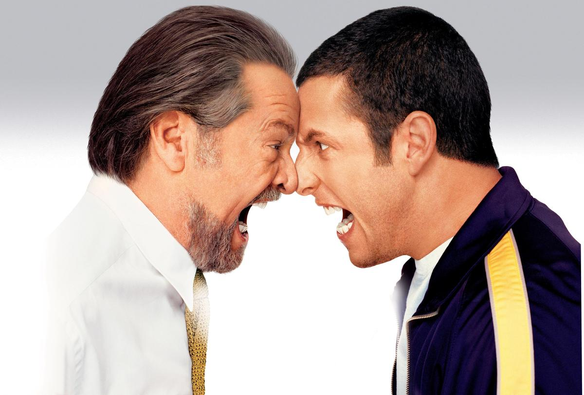 Jack Nicholson and Adam Sandler yell at each other's faces in a promo shot for Anger Management.