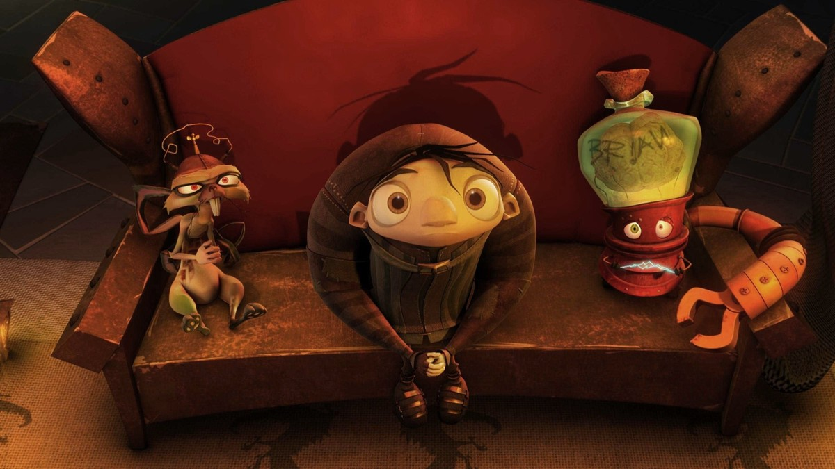 Characters sit on a couch in the movie Igor.