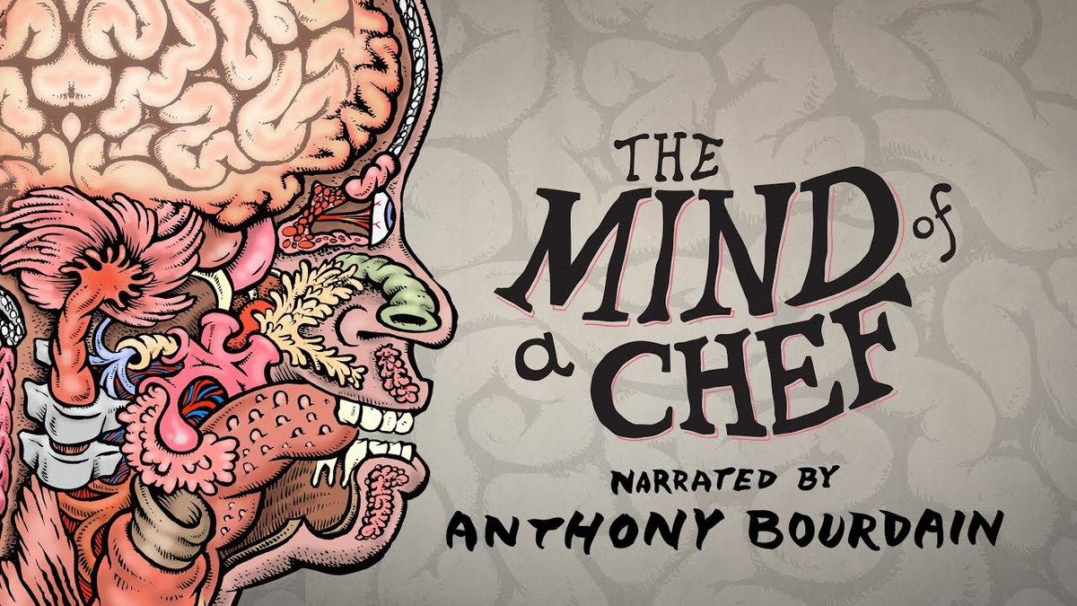 The cover art for The Mind of a Chef features a drawing of the organs in a human head.