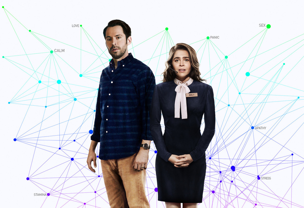 Martin Starr and Mae Whitman pose in the front cover of Operator.