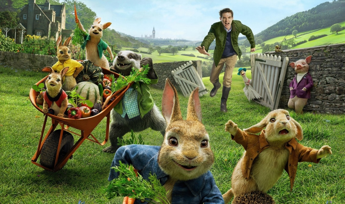 Thomas McGregor chases CGI rabbits in the movie, Peter Rabbit.