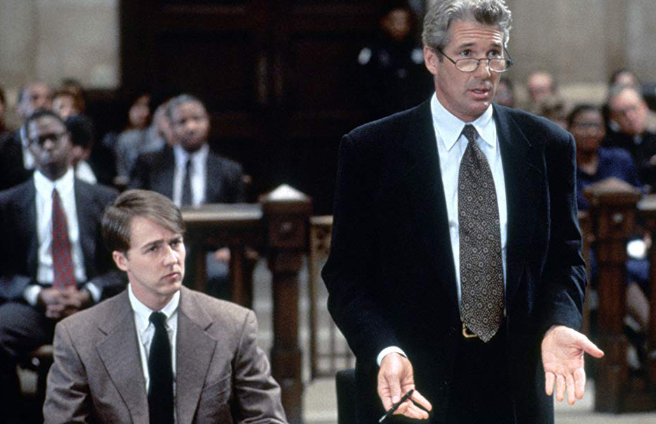 A lawyer defends an altar boy in the movie, Primal Fear.