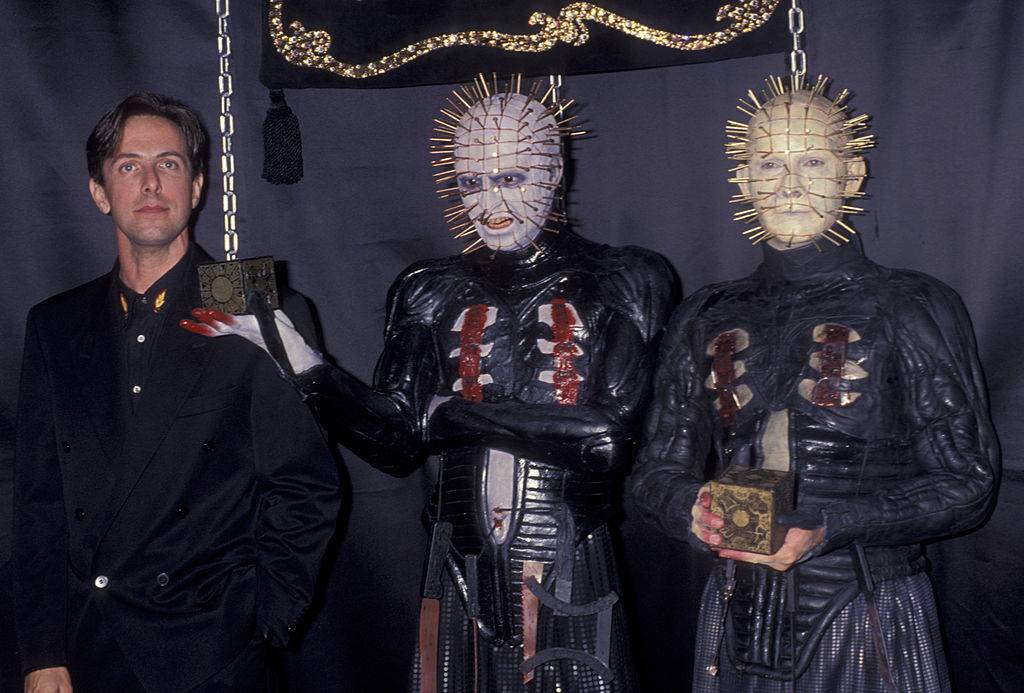 Author Clive Barker and actor Doug Bradley attend Wax Figure of 'Hellfraiser' Press Conference