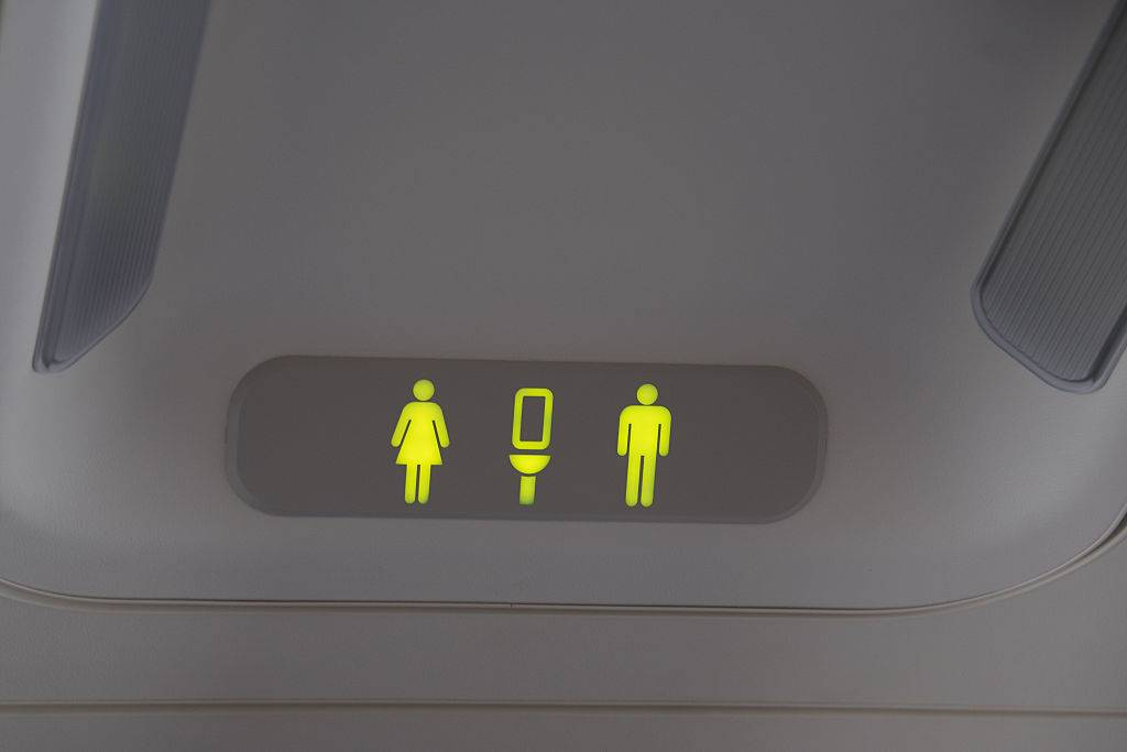 Lit signal of bathrooms for men and women on a plane .