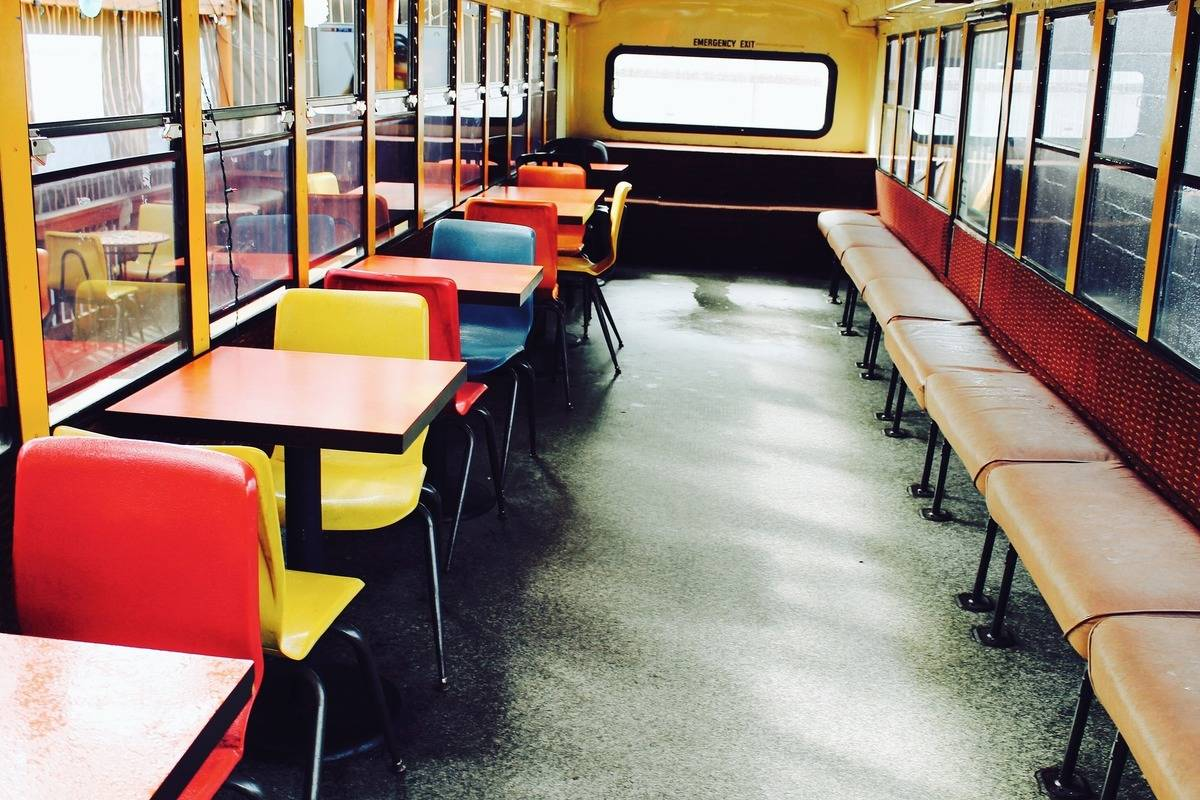 schoolbus with desks