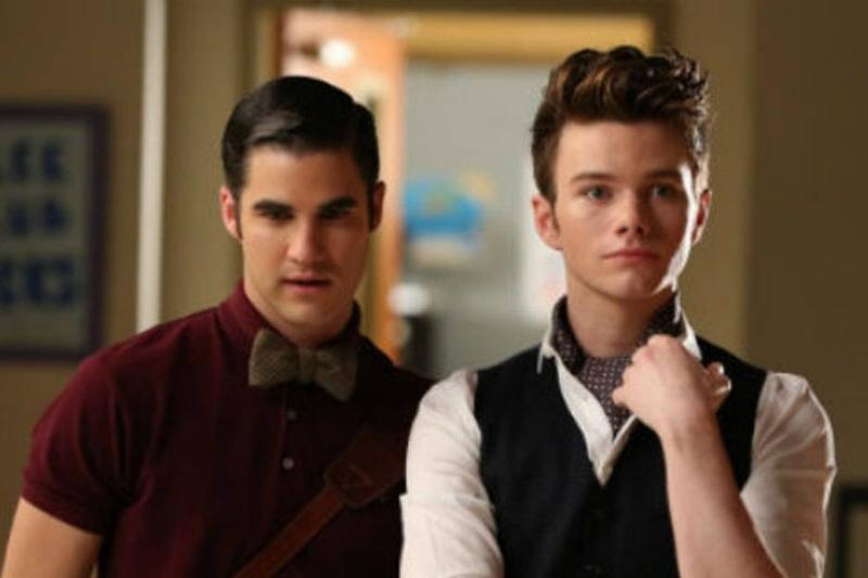 darren criss and chris colfer in a still from glee