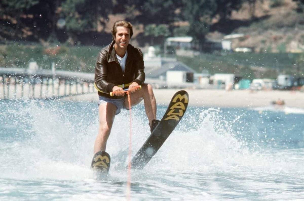 henry winkler jet skiing with a leather jacket