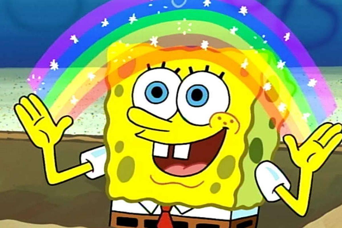 spongebob squarepants holding up a rainbow