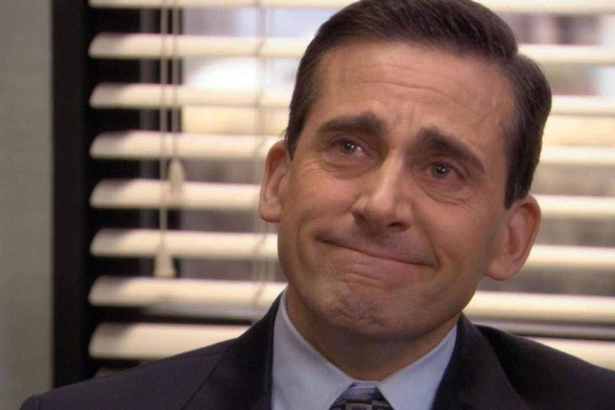 steve carell crying in front of blinds
