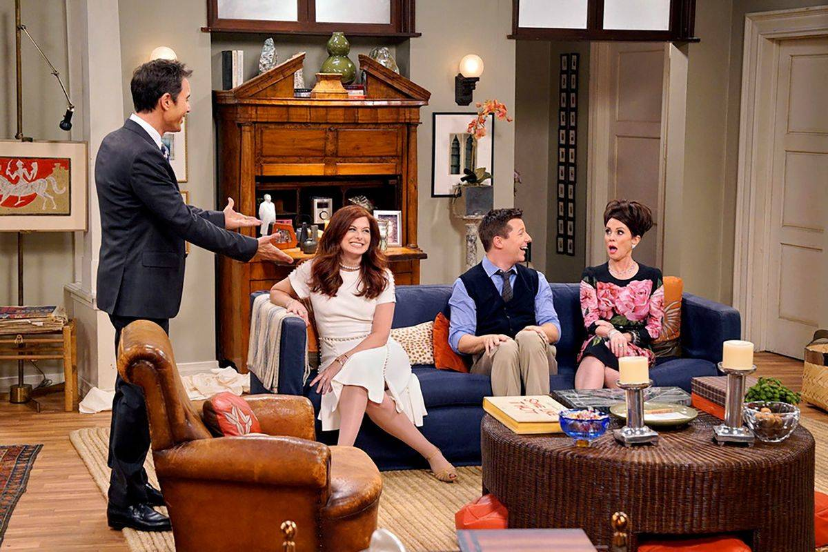 the cast of will & grace on set