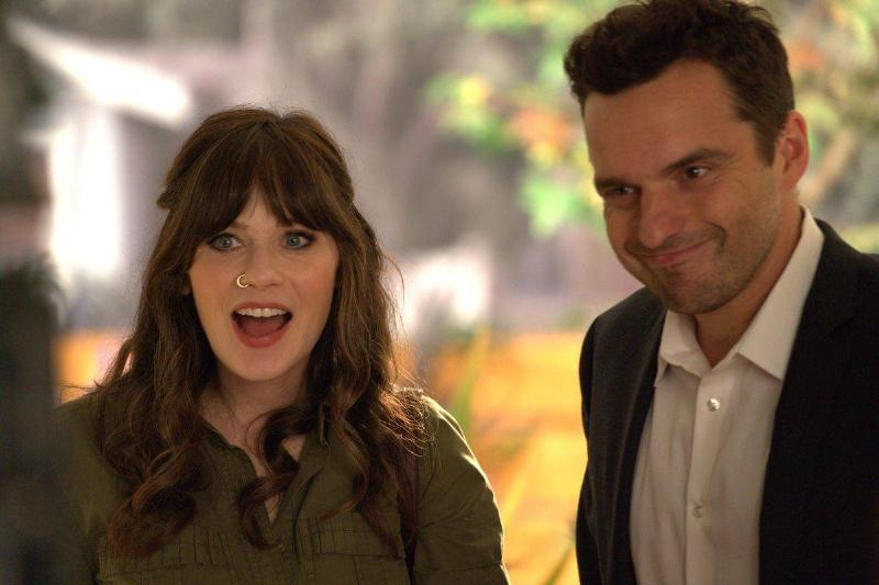 zooey deschanel and jake johnson in a still from new girl