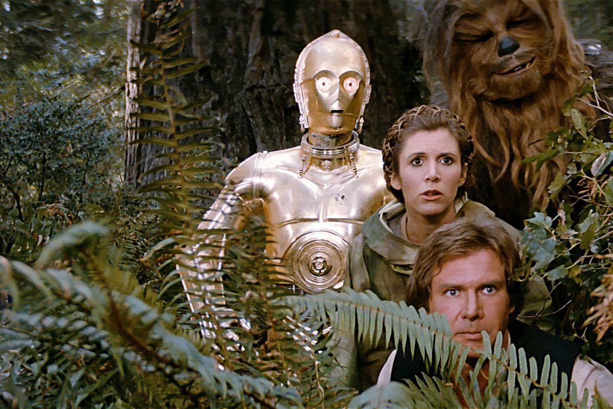 star wars cast peeking out of the bushes
