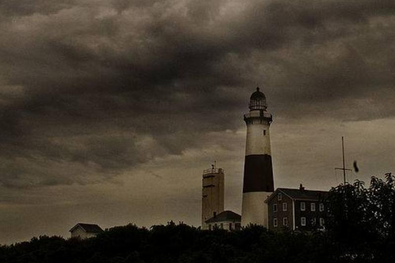 Storm clouds loom over the Montauk lighthouse