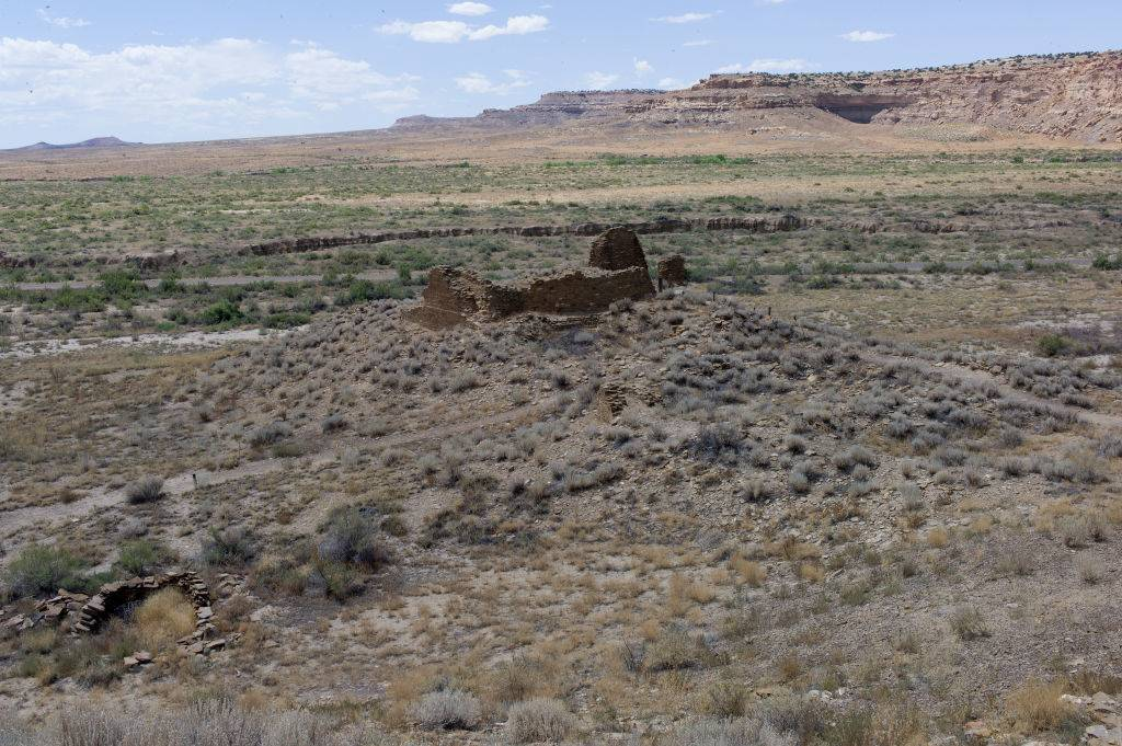 Ancient Pueblo ruins are preserved in the remote desert of central New Mexico