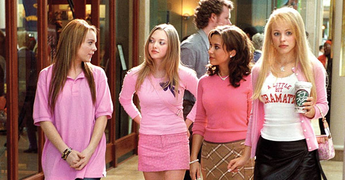 cast of mean girls wearing pink outfits