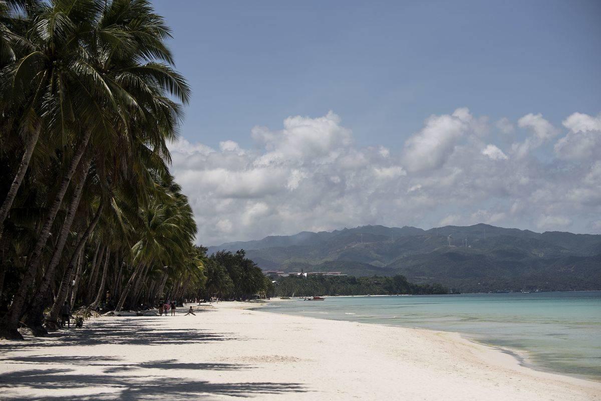A deserted beach on Boracay Island is photographed.