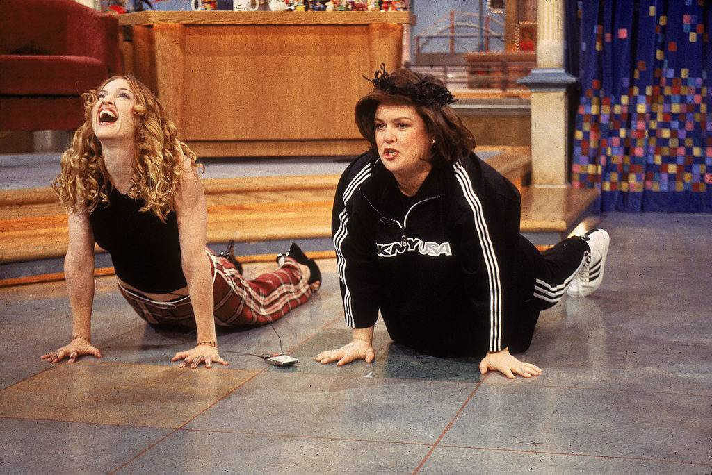 rosie o'donnell and madonna exercising on the rosie o'donnell show