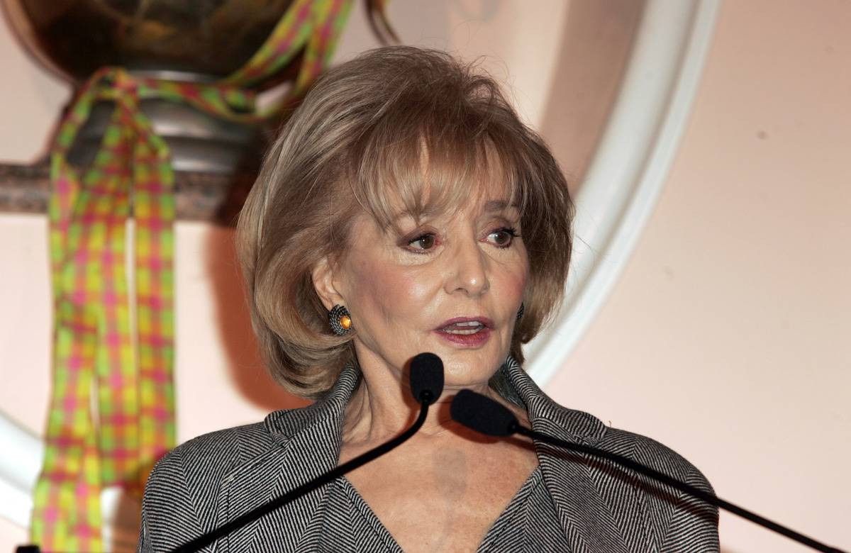 Barbara Walters reports news into a microphone.
